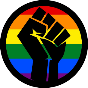 Black lives matter fist icon on a background of the LQBTQ+ flag